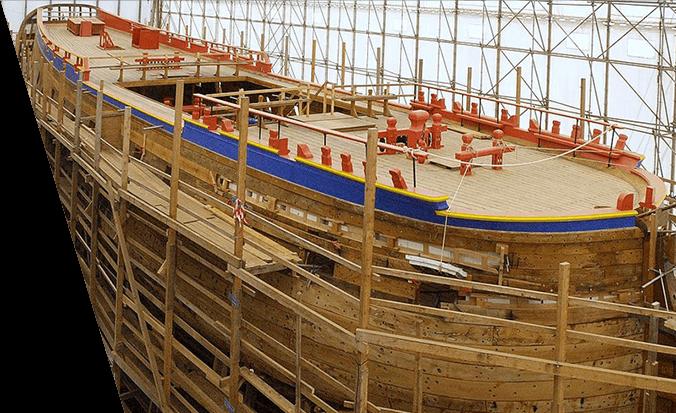 Navire Hermione : construction et restauration patrimoine