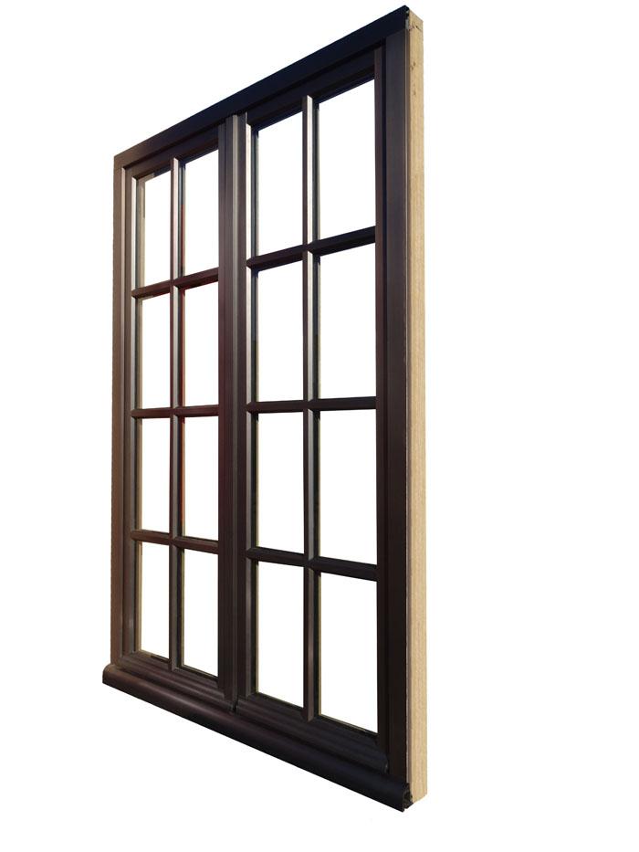 Fenêtres bois-bronze vue extérieure, finition bronze médaille foncé