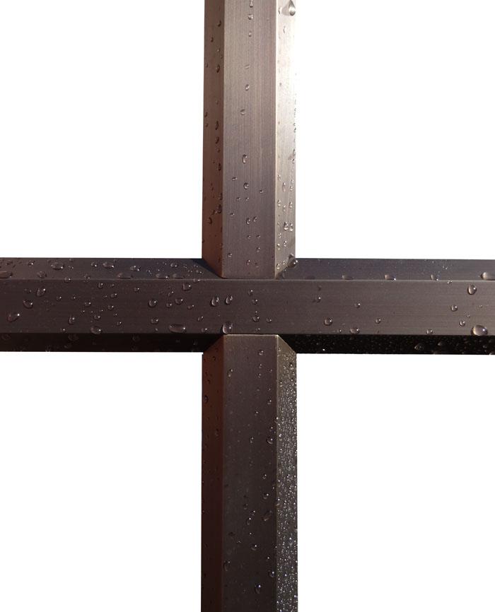 Petits bois d'une fenêtre mixte-bois bronze, finition bzone médaille foncé