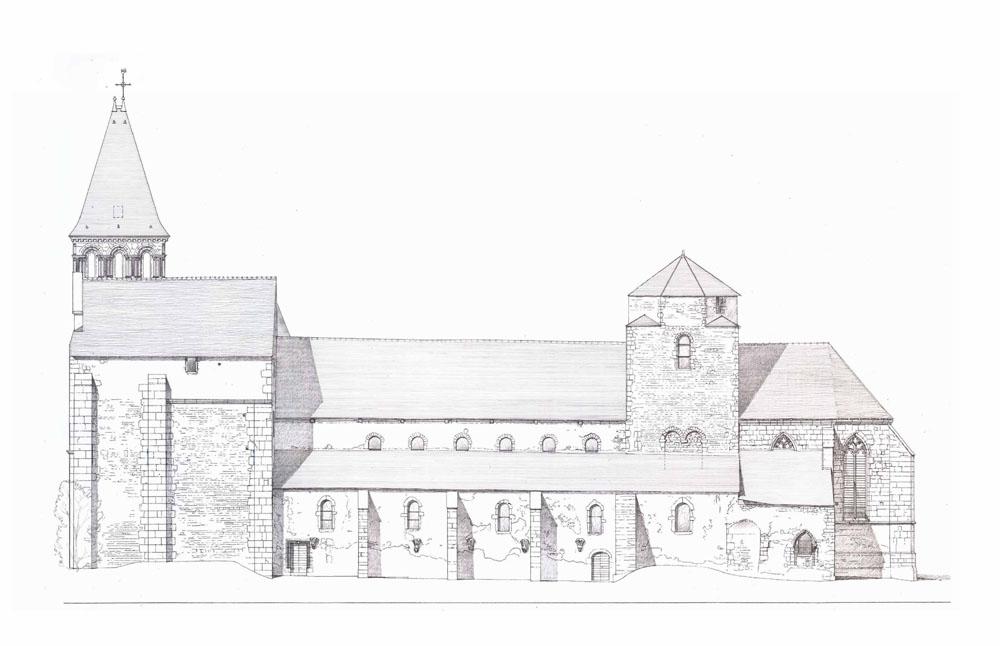 Élévation église Perrecy les forges charpente